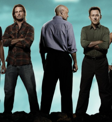 Detail from LOST Season 6 promo poster with Locke, Sawyer, and Ben