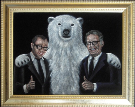 Damon Lindelof Carlton Cuse and a Polar Bear painting on velvet