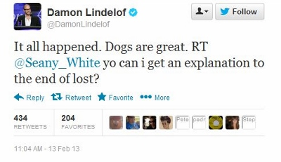 Damon Lindelof on Twitter tweet about LOST ending Feb  13 2013